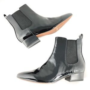 NEW FRANCO SARTO Archie 2 Black Patent Ankle Boots